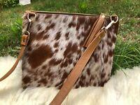 Cowhide Crossbody Purse Handbag Wallet Clutch Brown Cow Hide Leather 2 sided Fur