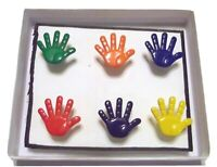 KIDS COLORFUL HANDS - Set of 6 Handmade Decorative Magnets SALE