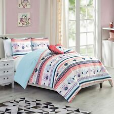 Chezmoi Collection Girls Comforter Bedding Set Printed Owls with Throw Pillow