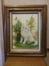 B Harris Framed 20x24 White Kitten Butterfly Signed Oil Painting