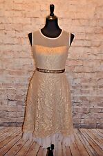 Modcloth Bedazzle the Crowd Dress Gold Taupe  Sz M  NWT Ryu lace Shimmer