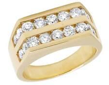 Men's 14K Yellow Gold Two Row Genuine Diamonds Wedding Band Ring 2 Ct 10MM
