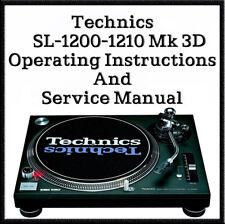 Technics SL-1200 - 1210 Mk3D Operating instructions & Service Manuals (DOWNLOAD)