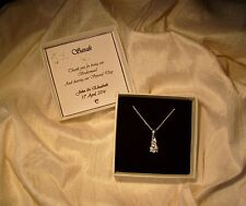 Gift for bridesmaid jewellery sterling silver pendant necklace  personalized box