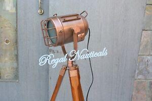 Copper Nautical Search Light Studio Floor Lamp With Tripod Spot Lamp Gift