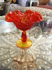 Vintage Fenton Amberina Crimped Pedestal Compote Art Glass 6 inches tall