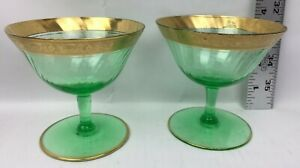 "2 Green Gold Rim Champagne Coupe Glasses Used 3.5"" Tall"