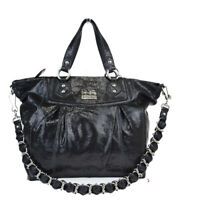 Auth Coach 14421 2WAY CHAIN Patent Leather Shoulder Bag Black 08GB599