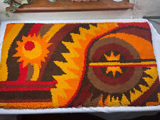 """MCM Sun Abstract 26"""" x 28"""" Thick Rug Vintage Hooked Throw Carpet Mid Century"""