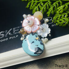 Fashion Flower Natural Turquoise Freshwater pearl Crystal brooch pin elegant