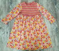 Girls HANNA ANDERSSON Floral Striped Dress Sz 120 ~ Great Condition