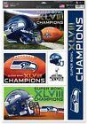Seattle Seahawks Super Bowl 48/XLVIII ~ CHAMPIONS ~ 11X17 DECAL SHEET of 5