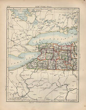 1897 VICTORIAN MAP ~ UNITED STATES ~ NEW YORK ~ WEST