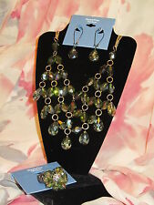 SIMPLY VERA WANG NWT $74 womens necklace earrings ring gold clear green stones