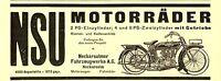 Motorrad NSU Neckarsulm Reklame von 1924 2 4 8 PS Zweizylinder Getriebe Werbung