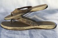 Sperry Top Sider Women's Shoes Size 8 M Gold Flip Flops Sandals Leather