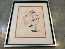 RARE Artist Signed J Liello Original 1950s Baseball Player Caricature