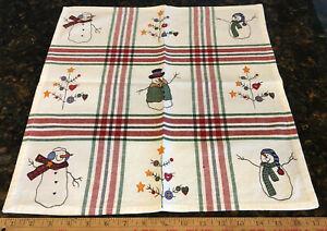 "Snowman Christmas Tree Print 18"" Square Table Cloth Napkin Kitchen Home Decor"