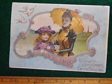 Victorian Easter Trade Card Lion Coffee Lady Girl Gold Parasol Doves #K