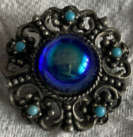 Vintage Costume Jewellery Blue Iridescent Glass Turquoise Silver Tone Brooch