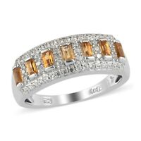 925 Sterling Silver Platinum Over Citrine Zircon Statement Ring Jewelry Ct 0.9