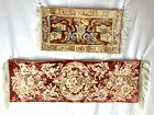 2 Antique Belgian Silk Brocade Tapestries w/ Fringed Ends