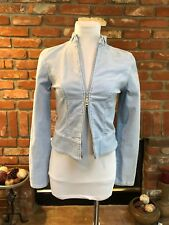 JLo sz Small BoHo CHIC Power Blue Stretch Cord 2 way Zip Accent Jacket