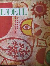 REVUE ART L'OEIL N° 62 de 1960 NUS REMBRANDT MASQUES LEVI STRAUSS POUILLON NABIS