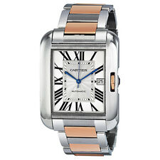 Cartier Tank Anglaise XL Automatic Silver Dial 18 kt Rose Gold and Steel Mens