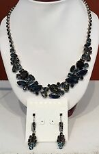 Sorrelli Blue Brocade Collection Necklace & Earrings (leverback )
