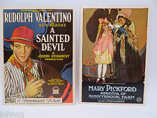 Rudolph Valentino and Mary Pickford Oversized Postcards - Never used