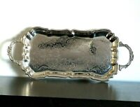 ENGLISH SILVER MFG Corp Leonard Silver Plate Etched Floral Tray Handles Footed *