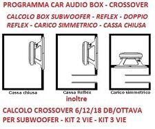 programma calcolo box subwoofer,crossover 6/12/18 dB/ottava