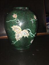 Pot Ou Vase En Bronze Emaux  Cloisonnés Décors Vigne Vierge Couleur Vert Jade
