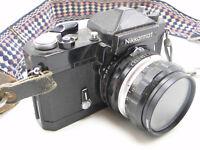 Black Nikormat FTN 35mm SLR Roll Film Camera w 50mm F2 Nikkor HC Lens