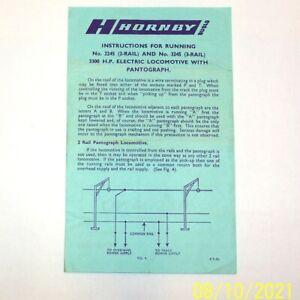 V. RARE ORIGINAL PANTOGRAPH OPERATING INSTRUCTIONS, HORNBY DUBLO 2245 LOCO E3002