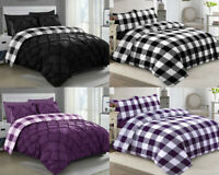 Pintuck Bedding Set Check Print Duvet Quilt Cover Double King Percale PillowCase