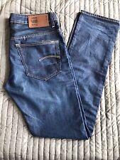 USED G-Star Raw  Men's 3301 Straight  Dark Aged Jeans Denim 32 x 36 - £44.99