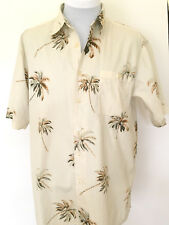 Weekender Men's Hawaiian Camp Shirt Cream XL Cotton Palm Trees
