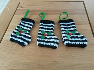 3 X HAND KNITTED CHRISTMAS STOCKINGS -BLACK AND WHITE