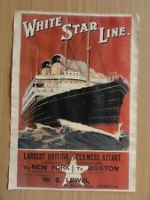 Altes Werbeplakat, White Star Line Liverpool - New York - Boston