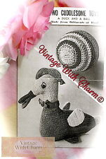 Vintage 1940s Toy Crochet Pattern Baby's Desmond Duck and Ball so Easy Just 99p