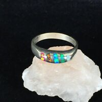 Vintage Sterling Silver Ring Multi Inlay Stone Pink Green Blue Opal Style Sz 10