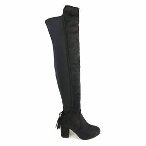 Womens Suede Over The Knee Stretch High Block Heel Tassel Riding Boots Size UK 3