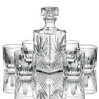 Elegant Whiskey Decanter set whit Stopper & 6 Glasses Italian Craftedy Glassesuc