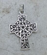 LARGE 925 STERLING SILVER FILIGREE PENTACLE STAR CROSS PENDANT  style# p0939