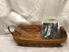 Longaberger 1999 Flower Pot Basket New Liner New Protector Combo Leather Handles