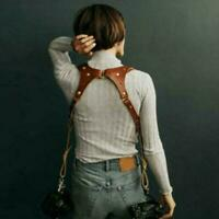 Dual Multi Camera Brown Leather Harness Shoulder Strap Universal Made W0C1