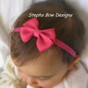 Shock PinkDainty Hair Bow Headband Fits Preemie Newborn Baby Toddler Easter