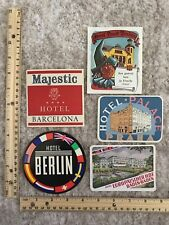 Five Hotel-Motel Luggage Labels Hotel Barcelona Hotel Berlin Hotel Palace~116803